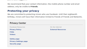 facebook : privacy policy